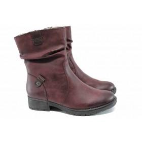 Дамски боти - висококачествена еко-кожа - бордо - EO-11273