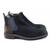 Мъжки обувки - естествен набук - тъмносин - EO-11290