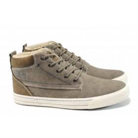 Спортни мъжки обувки - висококачествена еко-кожа - зелени - EO-11284