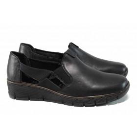 Равни дамски обувки - висококачествена еко-кожа - черни - EO-11352
