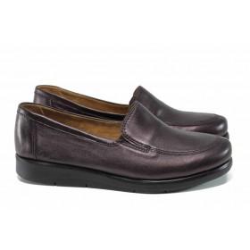 Равни дамски обувки - естествена кожа - бордо - EO-11374