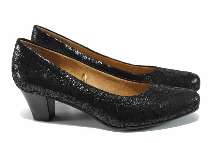 Дамски обувки на среден ток - естествена кожа - черни - EO-11371