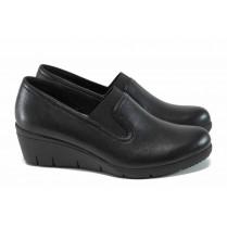 Дамски обувки на платформа - естествена кожа - черни - EO-11372