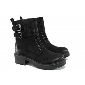 Дамски боти - висококачествен еко-велур - черни - EO-11379