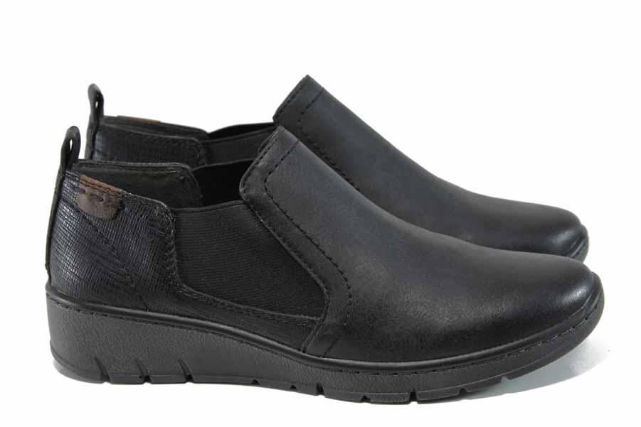 Равни дамски обувки - висококачествена еко-кожа - черни - EO-11413