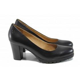 Дамски обувки на висок ток - естествена кожа - черни - EO-11410