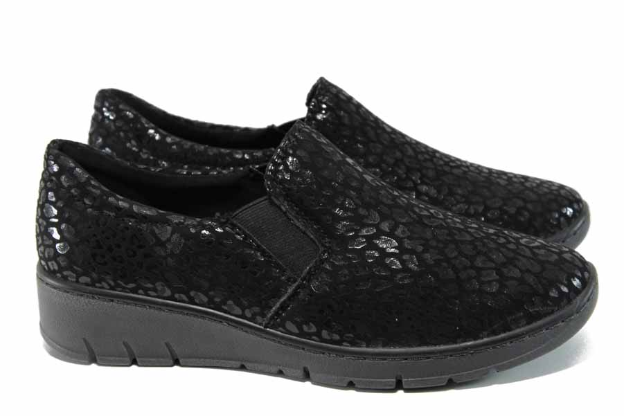 Равни дамски обувки - висококачествен текстилен материал - черни - EO-11412