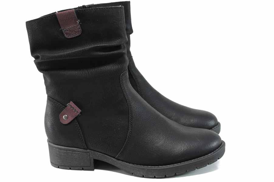 Дамски боти - висококачествена еко-кожа - черни - EO-11416