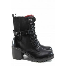 Дамски боти - висококачествена еко-кожа - черни - EO-11419