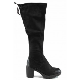 Дамски ботуши - висококачествен текстилен материал - черни - EO-11421
