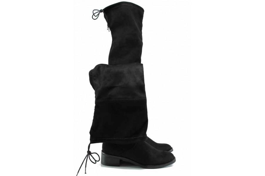 Дамски ботуши - висококачествен текстилен материал - черни - EO-11420