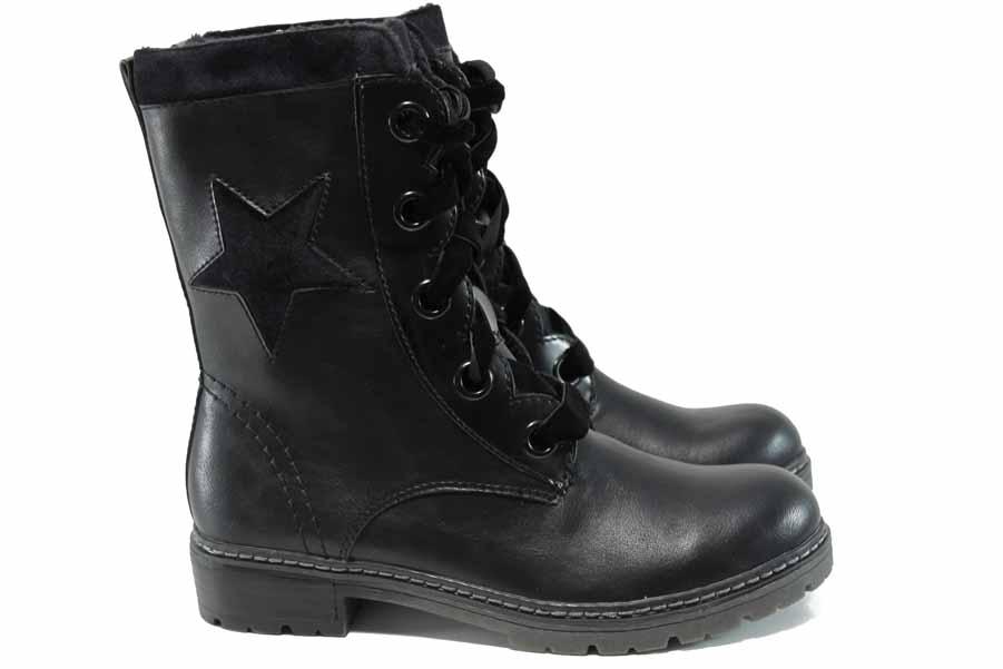 Дамски боти - висококачествена еко-кожа - черни - EO-11430