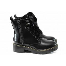 Дамски боти - висококачествена еко-кожа - черни - EO-11496