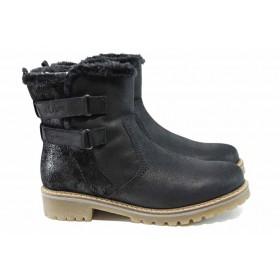 Дамски боти - естествена кожа - черни - EO-11495