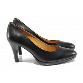 Дамски обувки на висок ток - естествена кожа - черни - EO-11494