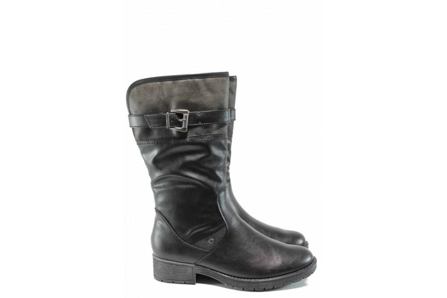 Дамски ботуши - висококачествена еко-кожа - черни - EO-11501