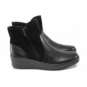 Дамски боти - естествена кожа - черни - EO-11545