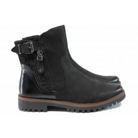 Дамски боти - естествена кожа - черни - EO-11557