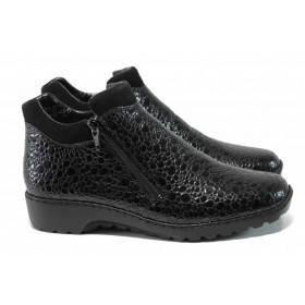 Дамски боти - висококачествена еко-кожа - черни - EO-11609