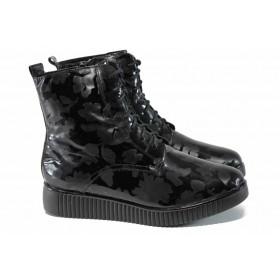 Дамски боти - висококачествена еко-кожа - черни - EO-11613