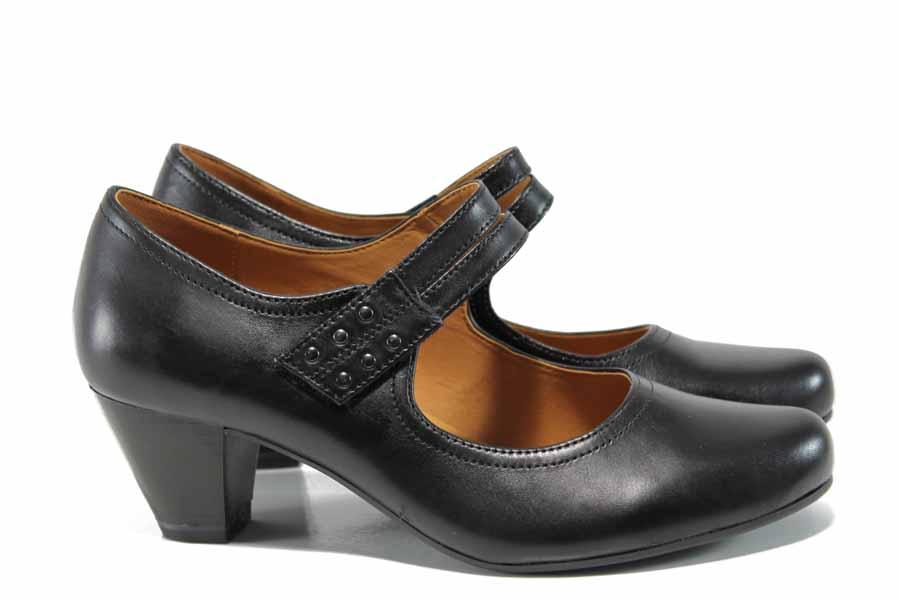 Дамски обувки на среден ток - естествена кожа - черни - EO-11648