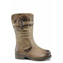 Дамски ботуши - висококачествена еко-кожа - кафяви - EO-11645