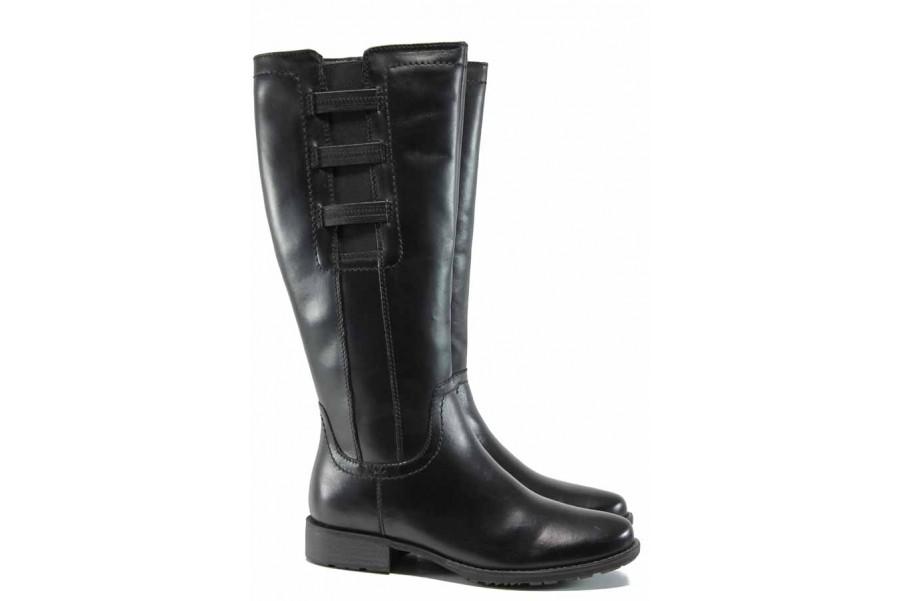 Дамски ботуши - естествена кожа - черни - EO-11646