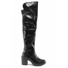 Дамски ботуши - висококачествена еко-кожа - черни - EO-11649