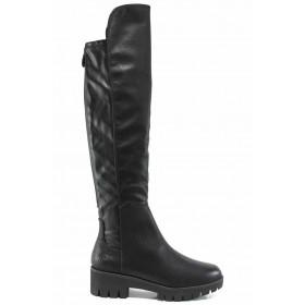 Дамски ботуши - висококачествена еко-кожа - черни - EO-11692