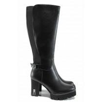 Дамски ботуши - висококачествена еко-кожа - черни - EO-11799