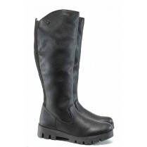 Дамски ботуши - висококачествена еко-кожа - черни - EO-11801