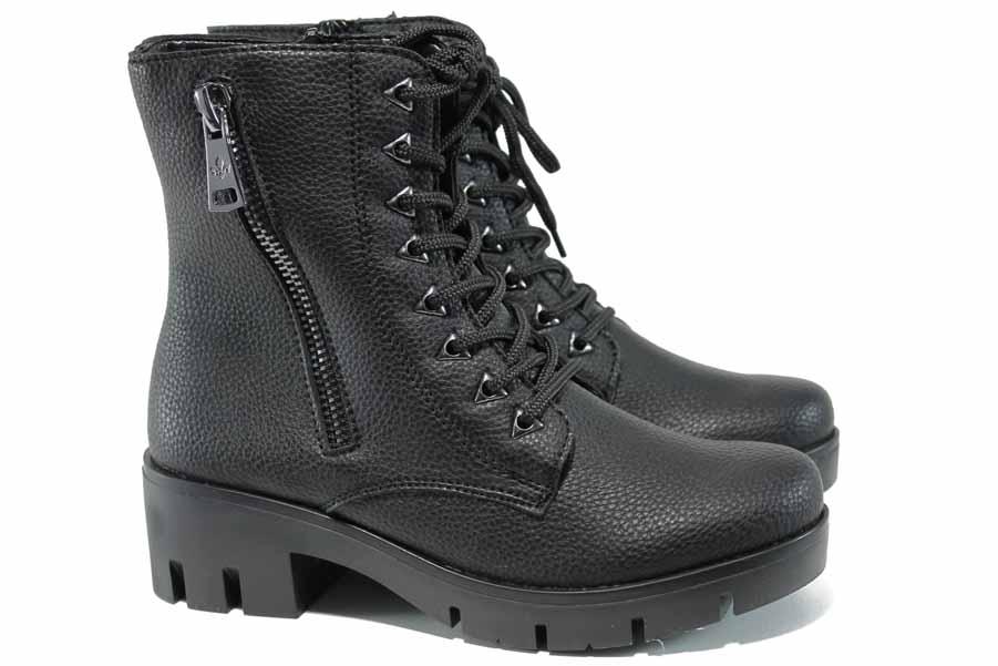 Дамски боти - висококачествена еко-кожа - черни - EO-11825
