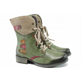 Дамски боти - висококачествена еко-кожа - зелени - EO-11824
