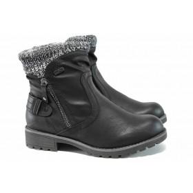 Дамски боти - висококачествена еко-кожа - черни - EO-11815