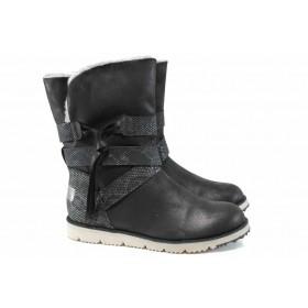 Дамски боти - висококачествена еко-кожа - черни - EO-11820
