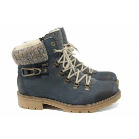 Дамски боти - висококачествена еко-кожа - сини - EO-11822