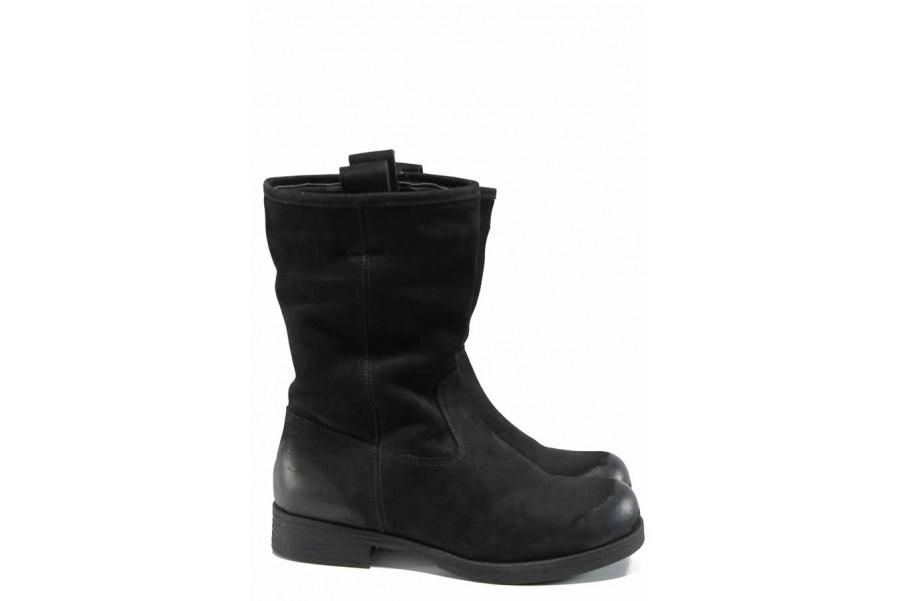 Дамски боти - естествен набук - черни - EO-11851