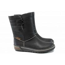Дамски боти - висококачествена еко-кожа - черни - EO-11868