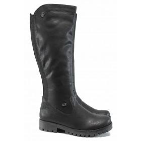 Дамски ботуши - висококачествена еко-кожа - черни - EO-11874