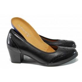 Дамски обувки на среден ток - естествена кожа - черни - EO-11914