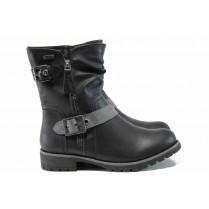 Дамски боти - висококачествена еко-кожа - черни - EO-11976