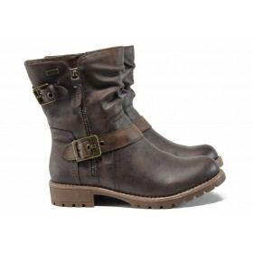 Дамски боти - висококачествена еко-кожа - кафяви - EO-11977