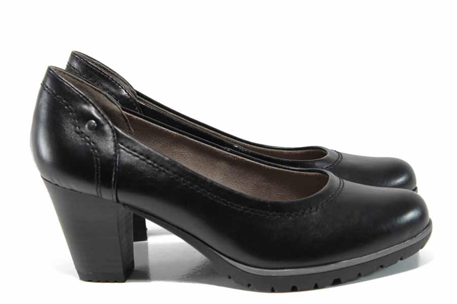 Дамски обувки на висок ток - висококачествена еко-кожа - черни - EO-11987