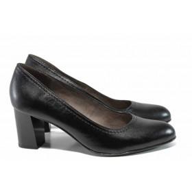 Дамски обувки на висок ток - естествена кожа - черни - EO-12012