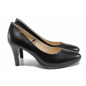 Дамски обувки на висок ток - естествена кожа - черни - EO-12011