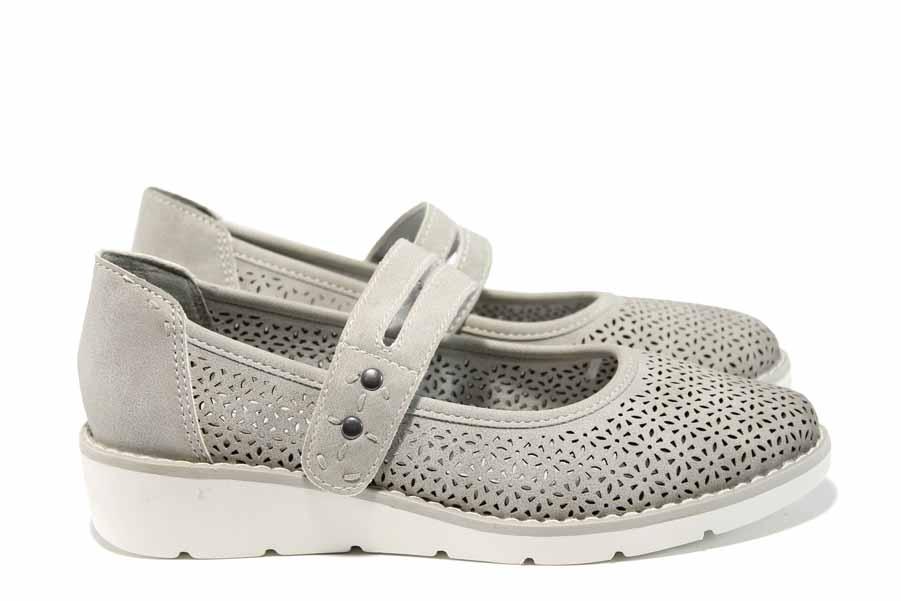 Равни дамски обувки - висококачествена еко-кожа - светлосив - EO-12014