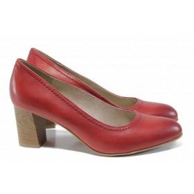 Дамски обувки на висок ток - естествена кожа - червени - EO-12016