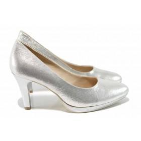 Дамски обувки на висок ток - естествена кожа - сиви - EO-12019