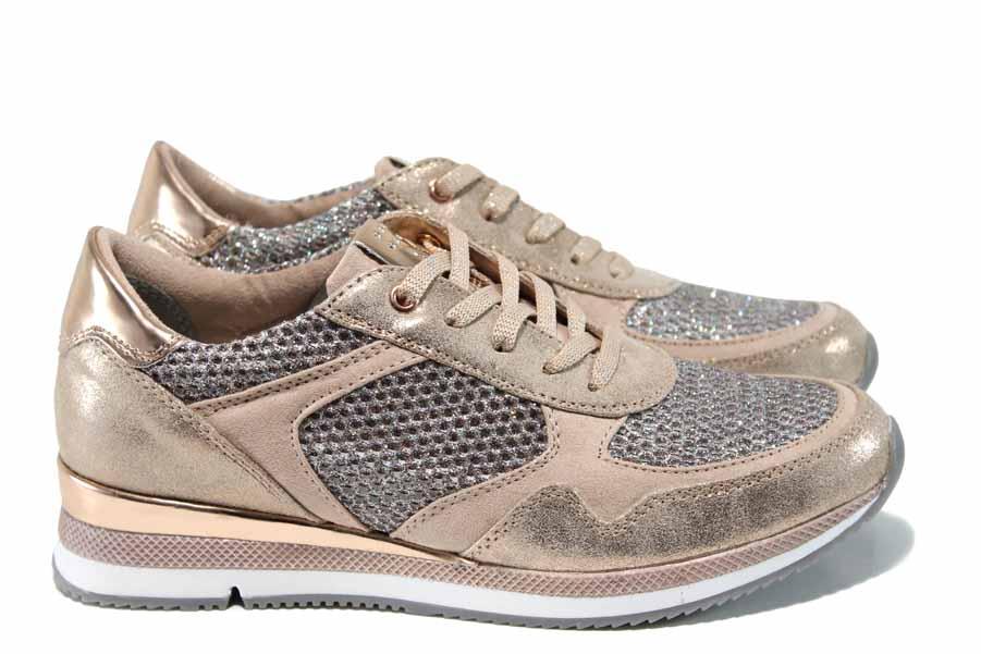 Равни дамски обувки - еко-кожа с текстил - розови - EO-12020