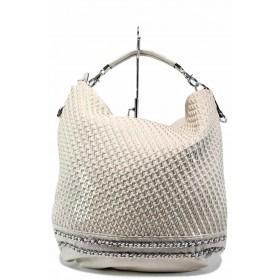 Дамска чанта - висококачествена еко-кожа - бежови - EO-12292